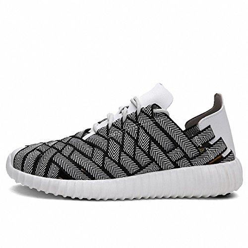 Lucdespo Calzature sportive tessute a mano scarpe sportive incavata e mesh traspirante e ammortizzante scarpe running in bianco e nero 38.