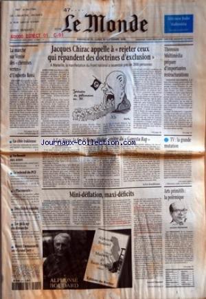 MONDE (LE) [No 16061] du 15/09/1996 - LA MARCHE SUR VENISE DES CHEMISES VERTES D'UMBERTO BOSSI LA CIBLE IRAKIENNE LA BOSNIE AUX URNES LE REBOND DU PCF PLACEMENTS DES CLICHES RAPIDES LES PICK-UP DU DIMANCHE HENRI EMMANUELLI AU GRAND JURY JACQUES CHIRAC APPELLE A REJETER CEUX QUI REPANDENT DES DOCTRINES D'EXCLUSION A LAS VEGAS, LA FIN DE TUPAC SHAKUR, APOTRE DU GANGSTA RAP PAR SYLVIE KAUFFMANN MINI-DEFLATION, MAXI-DEFICITS PAR LAURENT MAUDUIT THOMSON MULTIMEDIA PREPARE D'IMPORTANTES RE