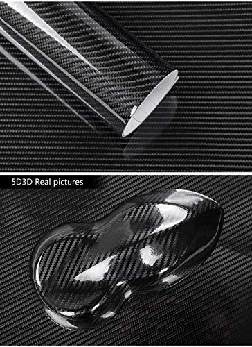 6a18fddf0aee Topwill 5D Carbon Folie, Hochglanz 5D Autofolie Carbon Vinyl Auto Folie Car  Wrapping Folie 0,16mm Autofolie (152 x 50 cm) Schwarz