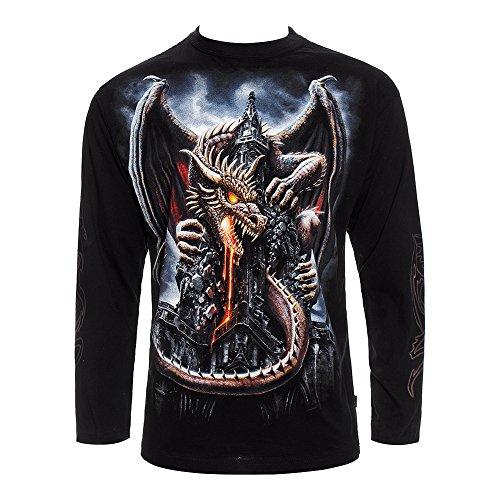 Top Con Maniche Lunghe Spiral Direct Dragon Lava (Nero) - Large