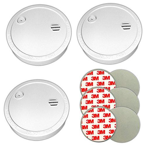 3x Rauchmelder & Magnethalter Klebepads Feuermelder ohne bohren 5 Jahre Batterie