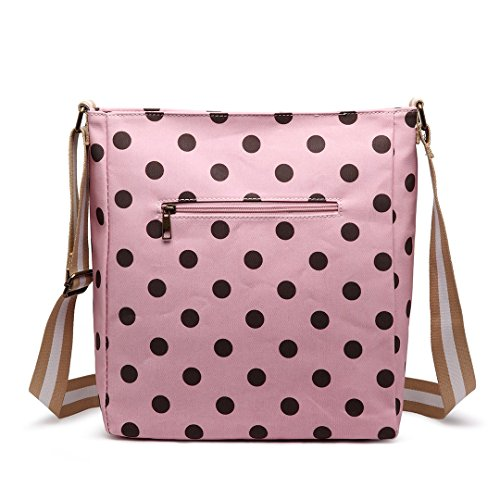 Damen-Umhängetasche Miss Lulu Adorable, Crossbody-Tasche, aus bedrucktem Wachstuch, rechteckig, mehrfarbig, Schultertasche Pink/Coffee Dot