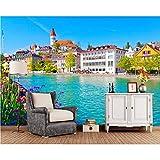 Xzfddn Die Schweiz Beherbergt Flussstadtfoto Gebäudetapete Wohnzimmer Sofa Tv Wand Schlafzimmer Wand Papier Wohnkultur-350X250Cm