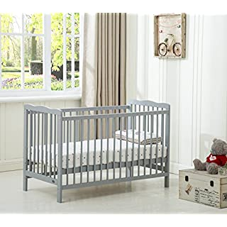 Mcc® Brooklyn Baby Cot Crib With Water repellent Mattress (Grey)