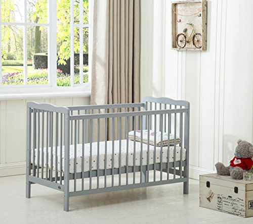 MCC Brooklyn Baby Cot Crib With Water repellent Mattress (Grey)