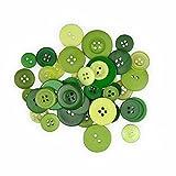 Creleo 790224 Knöpfe Mix zum Basteln, Vernähen und Verzieren, 30 g, grün