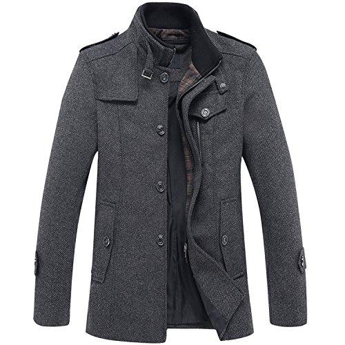 Eniko Herren Trenchcoat Jacke Wollmischung Mantel Stehkragen Wintermantel Warme Wollmantel Reißverschluss