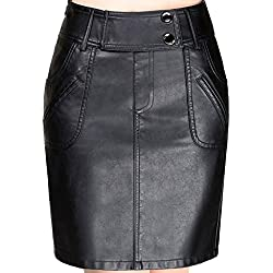 Helan Mujeres La alta cintura Bolsillos decorado cuero de la PU de las faldas cortas