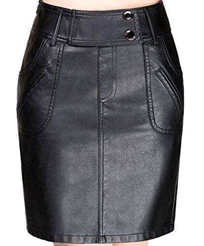 Helan Damen Hohe Taillen-Taschen verzierte PU-Leder kurze Röcke Schwarz EU 44