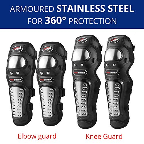 AllExtreme EXPBKG4 Pro-Biker 2nd Generation Alloy Steel Elbow Guard Flexible Breathable Adjustable Knee Shin Armor Protector for Bikers and Riders (Black, 4 PCS)