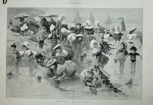 Strand-Kinderküste Begg-Kunst-1895 Yachts (Kostüme 1895)