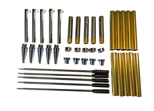 woodturning-slimline-pen-kit-set-x-5-chrome-finish-twist-mechanism