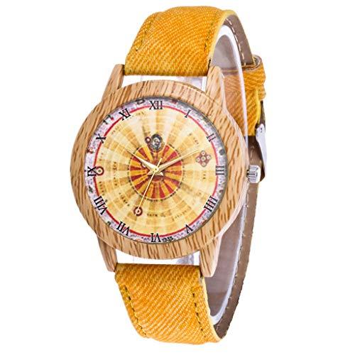 Gesicht Denim (Giulogre Modern Lässige Damen Armbanduhren Quarzwerk Analog Uhren Mit Denim Strap Glas Gesicht Rundes Zifferblatt Günstig Aus Holz Uhren Geschenk Junge Frauen Unisex (Gelb))