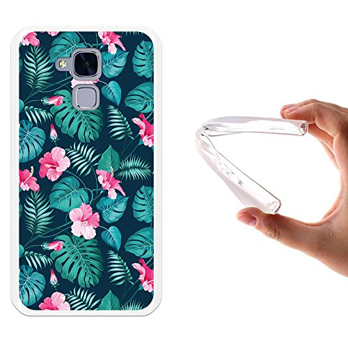 Huawei GT3 Hülle, WoowCase Handyhülle Silikon für [ Huawei GT3 ] Tropische Blumen 2 Handytasche Handy Cover Case Schutzhülle Flexible TPU - Transparent