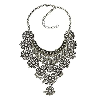 Broadroot Fashion Pendant Necklace Vintage Silver Gold Big Pendant Chain Crystal Chunky Necklace Christmas Birthday Gift for Women Girls