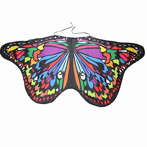 WOZOW Kind Schmetterling Flügel Kostüm Nymphe Pixie Umhang Faschingkostüme Schals Poncho Kostümzubehör Zubehör (Mehrfarbig 2)