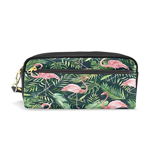 ical Leaf mit Flamingo bedruckt Reise Make-up Pouch Large Wasserdicht Leder 2Fächer für Mädchen Jungen Damen Herren ()