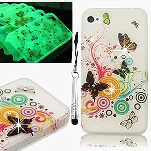 VCOER 3D Strass Leuchtende Schutzhülle Case Skin für Apple iphone 4 4S Hülle (harte Rückseite) Bling Glitzer Tasche Etui Case Skin mit Schmetterling Butterfly