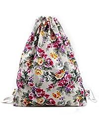 Tongshi Para mujer floral mochila de lona de la manera del morral del lazo