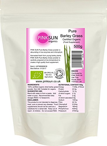 PINK SUN Organic Barley Grass Powder 500g - Barleygrass Powder Organic Certified by the Soil Association