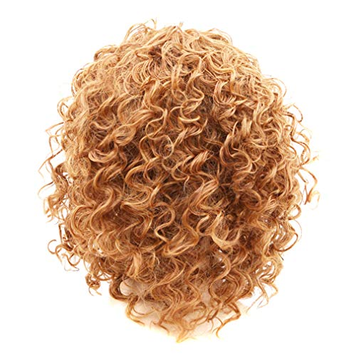 (SUNSKYOO Perücken Kleine Rolle Kurze Haare afrikanischen Kleinen Volumen Explosion Kopf Farbverlauf Urlaubsparty Cosplay weibliche Kopfbedeckungen, goldgelb (4#))