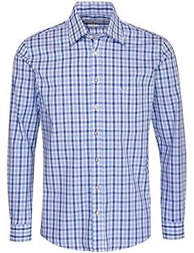 Almsach Trachtenhemd Blasius Regular Fit Mehrfarbig in Hellblau und Blau Inklusive Volksfestfinder