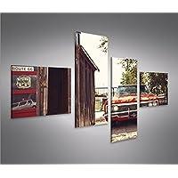 Quadri moderni Route 66 Chevy 4L Stampa su tela - Quadro x poltrone salotto cucina mobili ufficio casa - fotografica formato XXL