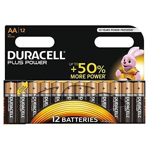 Duracell Plus AA, Batterie Stilo Alcaline, Confezione da 12 Pacco del Produttore, 1.5 volt LR06 MX1500 (il Design della Confezione Potrebbe Variare)