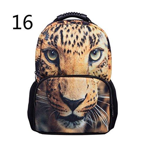 Pixnor Unisex Zaino Scuola Borse 3d animale stampa da viaggio escursionismo Daypacks, White Tiger Leopard