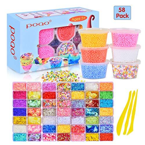 58 Packungen Slime Supplies Kit, einschließlich Perlen, Zucker Papier,Gitter,Augen,Shell,Scheiben,Konfetti,Schleim Schaum Perlen für Schleim Fluffy Machen DIY Craft Set(enthalten Keine Schleim)