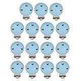MagiDeal Schnuller Clip, 15 Stücke Schnullerclips Set aus Holz und Eisen, 44mm Holz Schnullerketten Clips/Dummy Nippel Halter für Baby und Kind - Blau