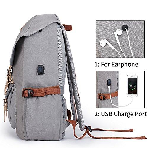 Canvas Rucksack, Casual Daypack mit USB Charge Port Backpack Schulrusack Laptoprucksack für Freitzeit Arbeit Campus Schule Reise, Grau - 4