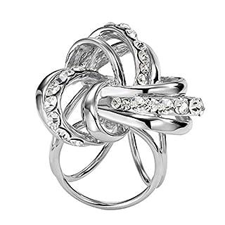 Contever® Schals Clip 3-Ring Scarf Ring Strass Schnalle Clips Designer für Elegante Frauen (Silber)