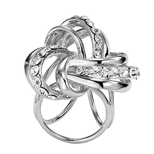 Contever® Elegante Donne Clips e Fibbia anello di Strass Sciarpa Chiffon Foulard di Seta Buckle (Argento)