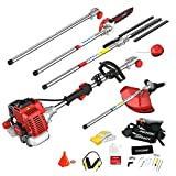 AOSOME 52CC Petrol Multi Function 5 in 1 Garden Tool - Hedge Trimmer, Strimmer, Brush Cutter, Pruner Chainsaw & Extension Pole