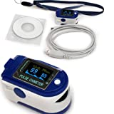 Contec CMS 50D+ OLED USB Finger Pulse Oximeter & Heart Rate Monitor w/ 24hr Memory, Lanyard, USB Cable & Full Analysis Software by HUGECARE