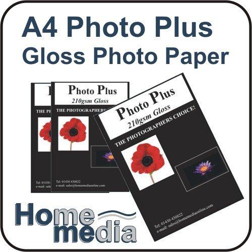 Home Media Photo Plus, 7 x 5 210gsm - glänzendes Fotopapier für Tintenstrahldrucker 100 Bögen Fotokarton glänzend (Fotopapier 5x7 Glänzend)
