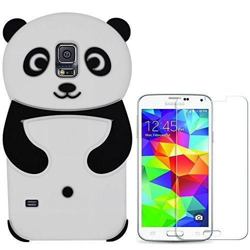 Hcheg 3D Silikon Schutzhülle Tasche für Samsung Galaxy S5 Hülle Panda Design schwarz/weiß Case Cover+ 1X Screen Protector (Samsung Galaxy S5 Cases Für Mädchen)