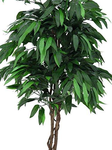 artplants – Deko Mangobaum mit 1130 Blättern, Naturstamm, Lianen, 210 cm – Künstlicher Obstbaum/Kunstbaum