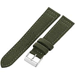 Hadley-Roma Men's MSM850RAB200 20-mm Army Green Genuine 'Cordura' Watch Strap