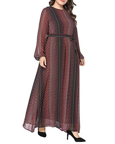 zhxinashu Muslimische Robe Kleid Arabisch Jalabiya - Abaya Dubai Islamische Kleidung Damen Kaftan Maxikleid Große Gestreift Langarm Chiffon (M) - Mädchen Chiffon Bodenlangen Kleid