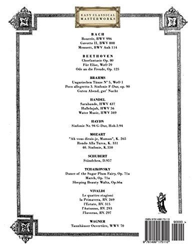 Obras Maestras Clásicas para Flauta: Piezas fáciles de Bach, Beethoven, Brahms, Handel, Haydn, Mozart, Schubert, Tchaikovsky, Vivaldi y Wagner