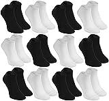 12 Paar SNEAKER Bambussocken Herren oder Damen Schwarz, Weiß, weich und bequem, made in EU 42-44 by Rainbow Socken