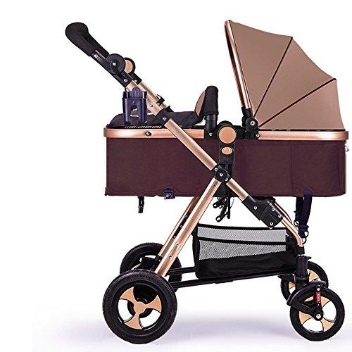 Kinderwagen, hochkarätige Kinderwagen, können Faltdämpfung Auto sitzen, Neugeborene Kinderwagen ( Farbe : Braun ) (Neugeborenen-braun-oxford)