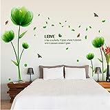 Ufengke Bella Verde Fiori Adesivi Murali,Camera da Letto Soggiorno Adesivi da Parete Removibili Stickers Murali Decorazione Murale