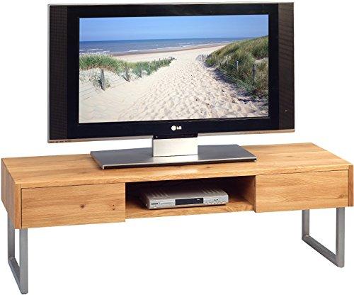 TV Bank Tessa 1, Wildeiche massiv geölt, Gestell Edelstahl, 120x40x40cm
