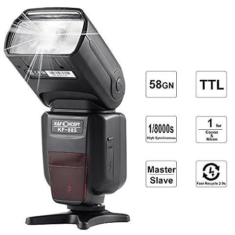 K&F Concept® TTL KF-885 Universal Blitz Blitzgerät Blitzlicht für Canon und Nikon Kamera mit HSS 1/8000s Masterblitzfunktion Leitzahl (Blitzlicht Canon)