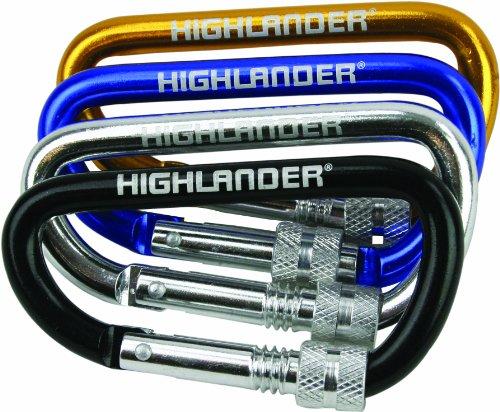 Highlander Karabiner, Screwgate 24 Stück, farblich Sortiert -