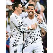 Fotografia autografata di Cristiano Ronaldo e Gareth Bale - Autografo stampato certificato