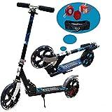RISILAYS Handbremse + Fußbremse City Roller mit Doppelfederung und Tragegurt für Erwachsene   Big Wheel Cityroller Scooter Klappbar und Höhenverstellbar